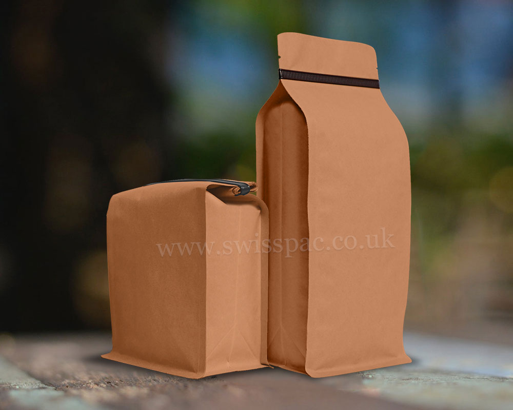 Brown Paper Flat Bottom Pouches